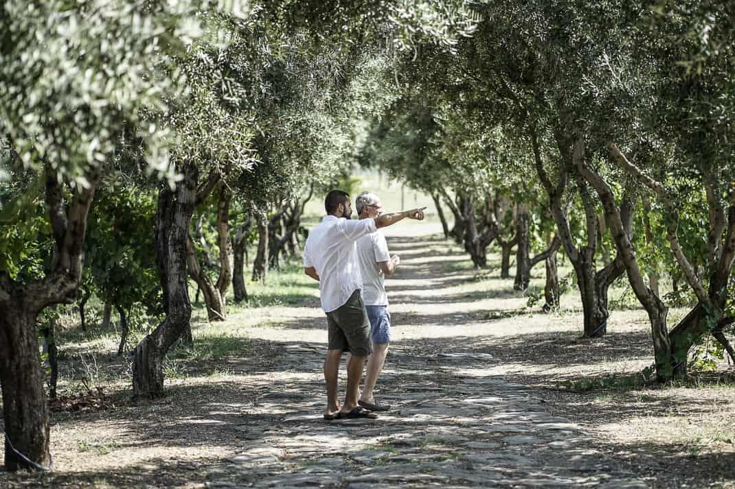 Frascati: Antonio Benedetti and me in his Cantine Santa Benedetta vineyard. Photo by Marina Pascucci.