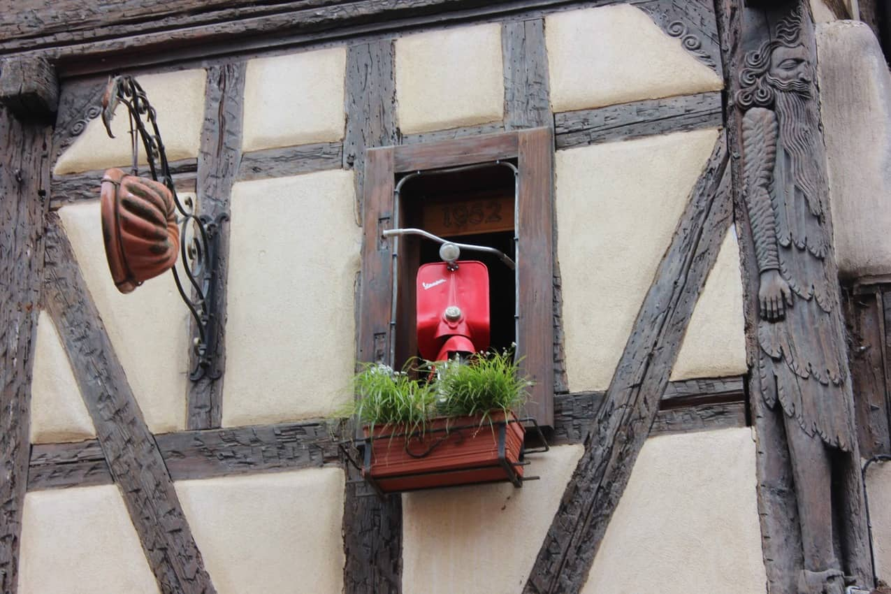 Interesting and whimsical window decorations.