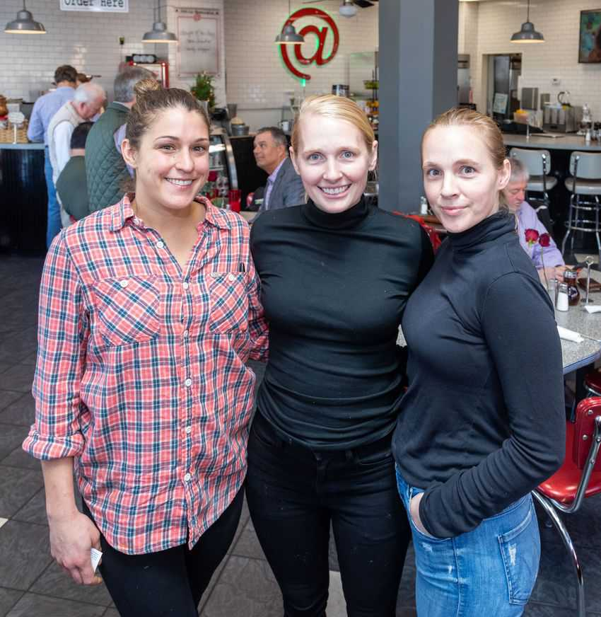 The sisters Leila and Helen Grace, and sister in law Kamiya Merrick behind @the Corner in downtown Little Rock AR.