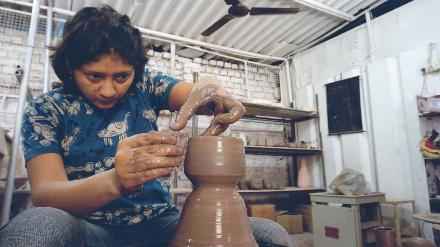 Learn the art of ceramics in India. Photo courtesy of VAWAA.