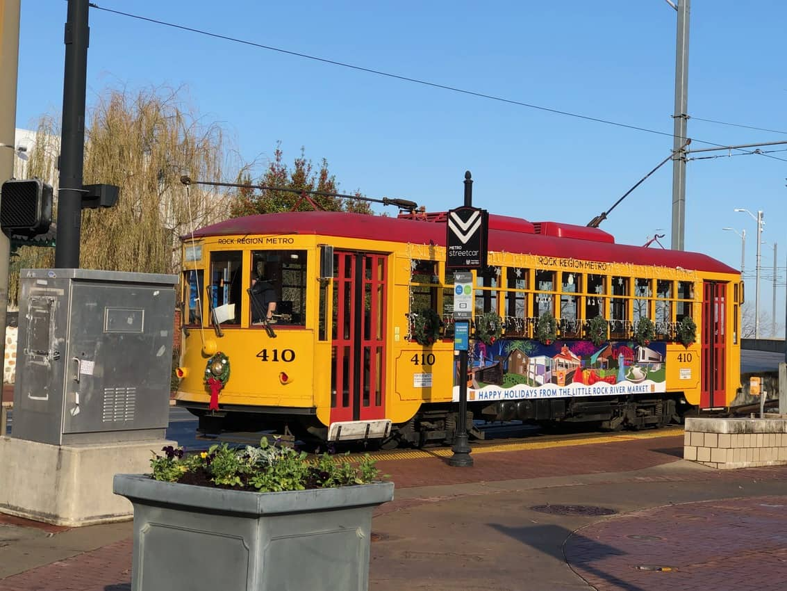 Tourists and locals can ride these free old fashioned rail riding trams to get to get across town.
