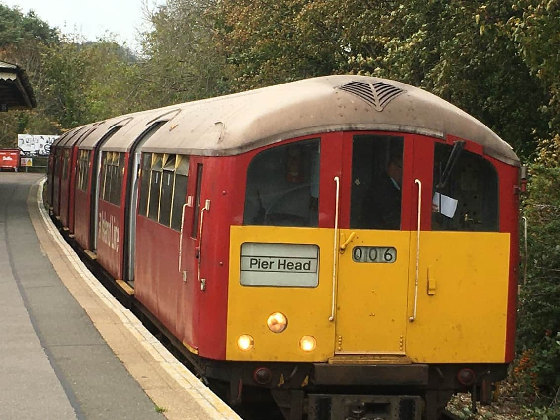 Look familar? The trains on the Isle of Wight are former London Underground carriages