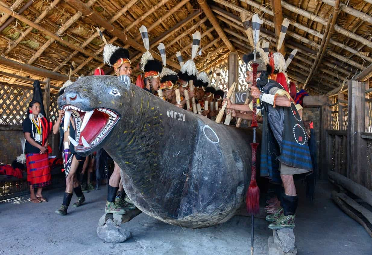 The Konyak tribe uses this carved creature as a base for their drumming during the Hornbill Festival.
