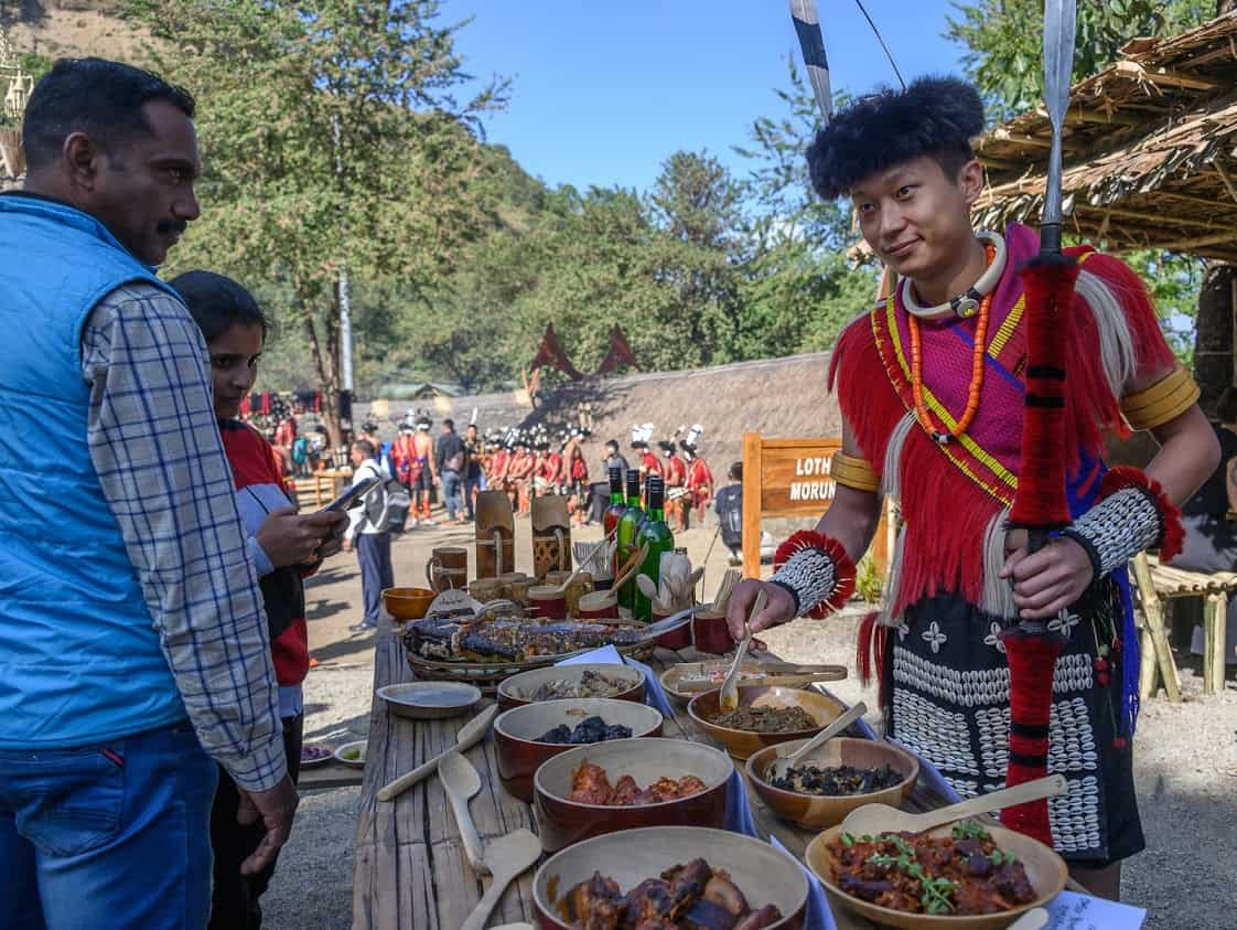 The Lotha people offer a unusual variety of dishes prepared on site during the Hornbill Festival.