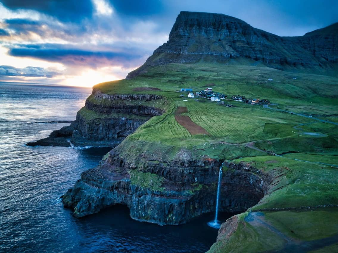 Múlafossur Waterfall, Faroe Islands. RTW Nomads photos.
