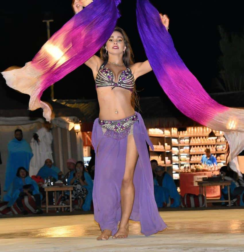 A beautiful dancer ended the Arabian desert evening