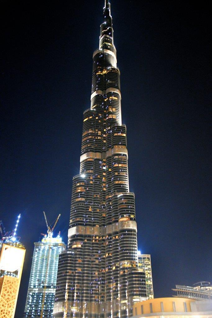 At 160 stories the Burj Khalifa overlooks the Dubai Mall