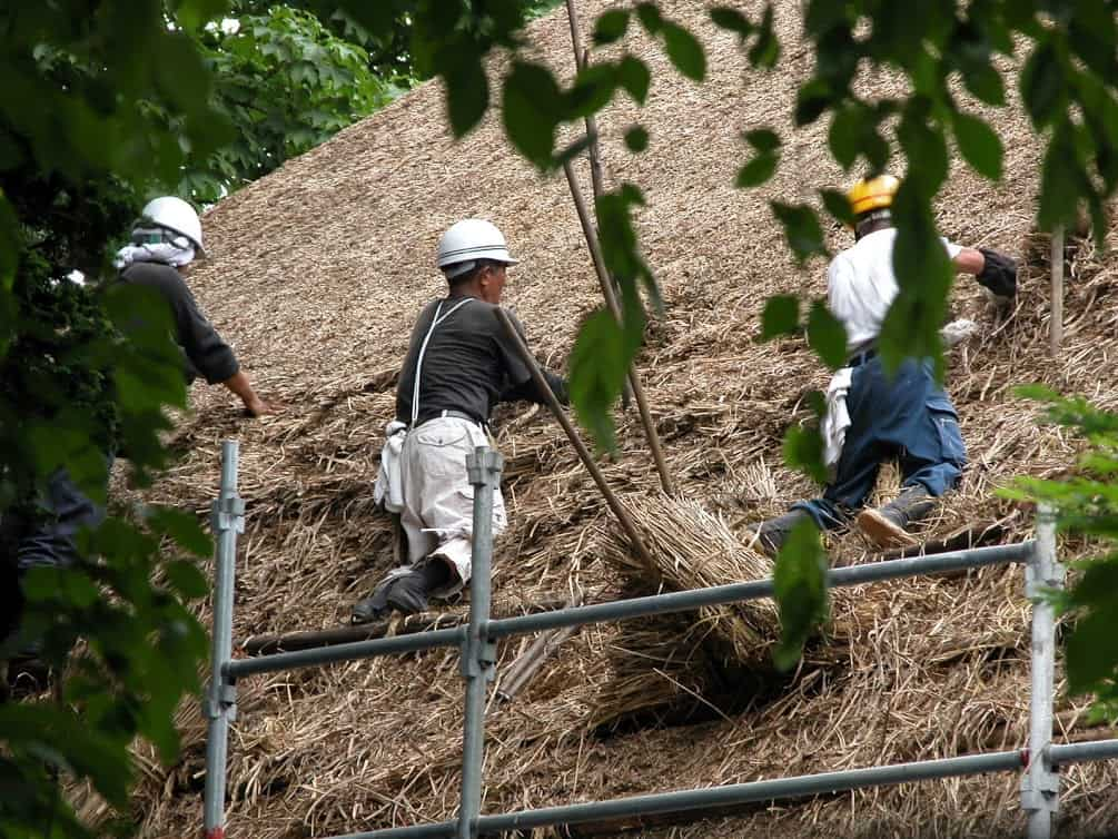 Replacing a thatch roof, like here at Ishiguro Samurai House in 2007, requires importing skilled roofers specializing in the craft