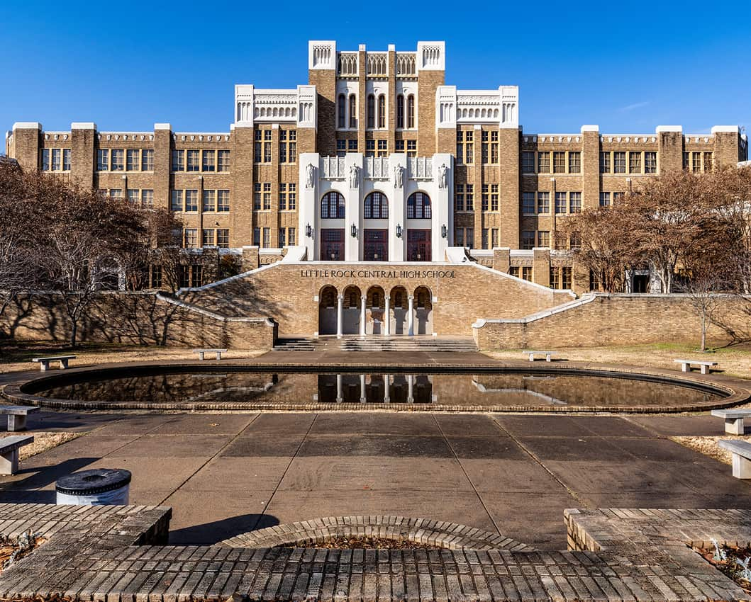 Little Rock Central High School with a memorial fountain devoted to the brave teenagers who desegregated the school in the 1950s.
