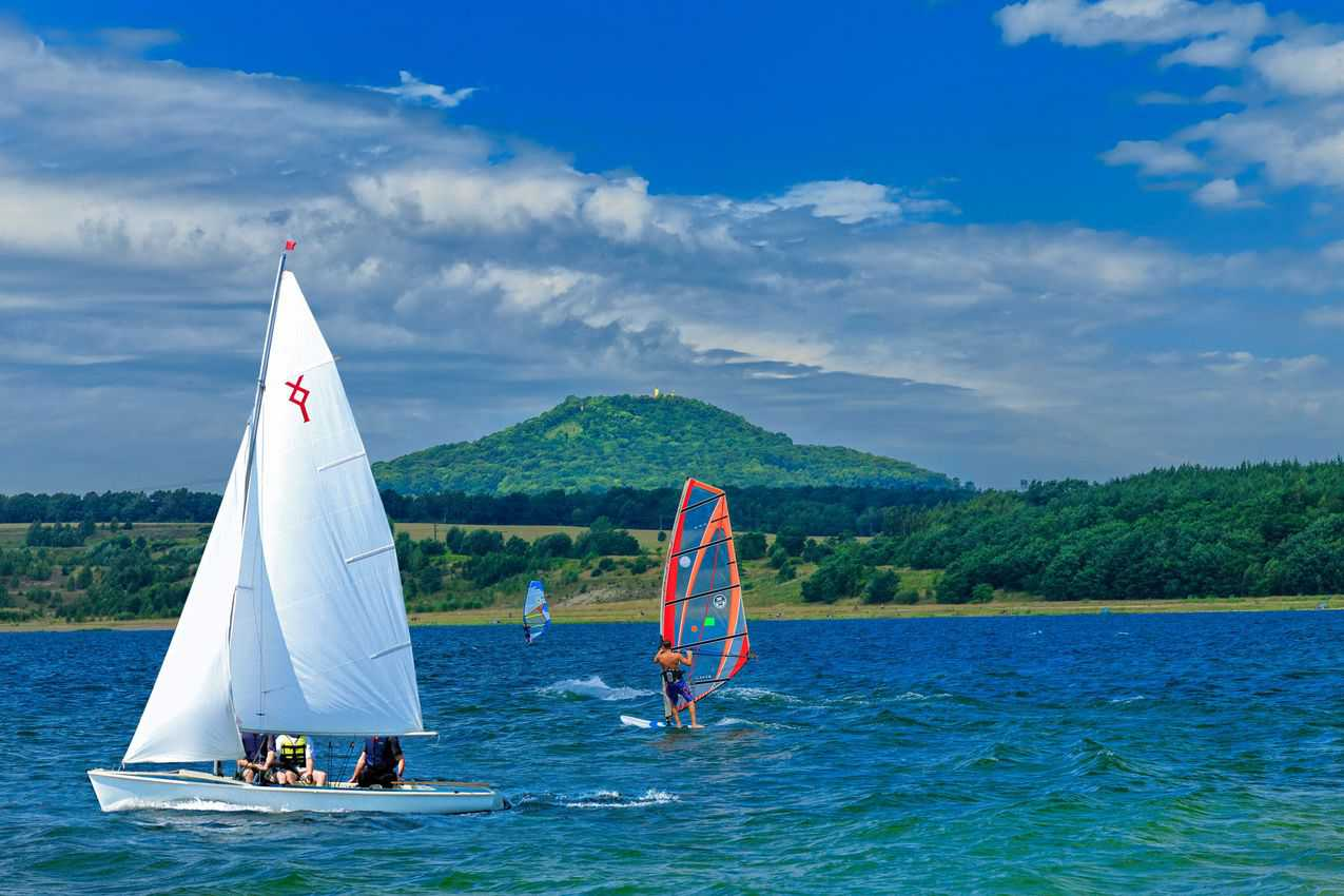 Lake Berzdorf is a great place for sailing and windsurfing. Photo by Rainer Weisflog.