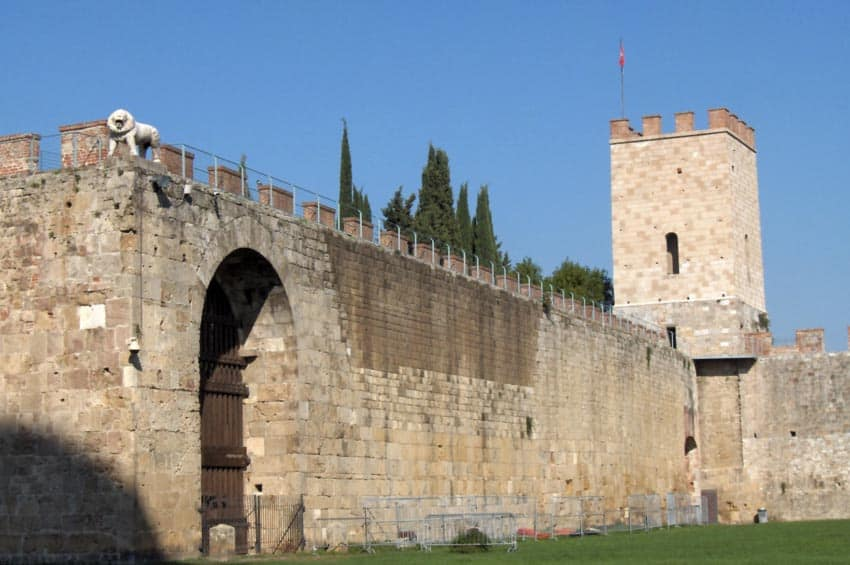 City walls dating to 1156 in Pisa, Italy.