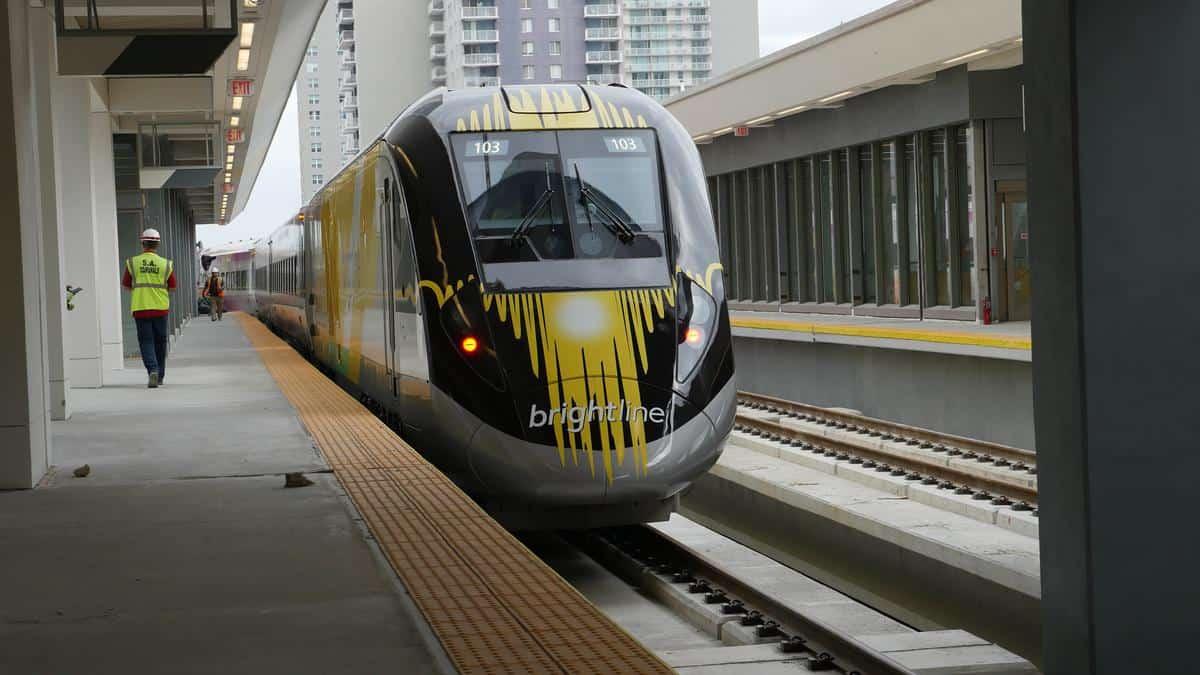 A Brightline train arriving at MiamiCentral station. Brightline photo.