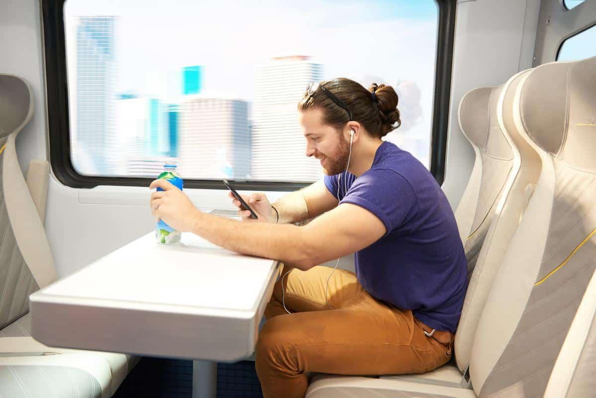 Interior of a train belonging to Virgin Trains USA.