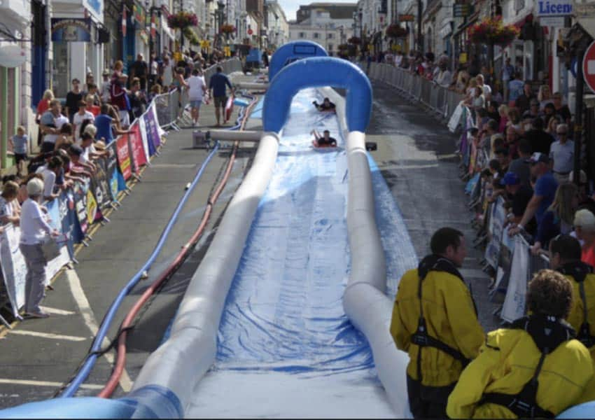 The Ryde Slide takes over Union Street with this giant water slide every summer. Robin Webster photo.