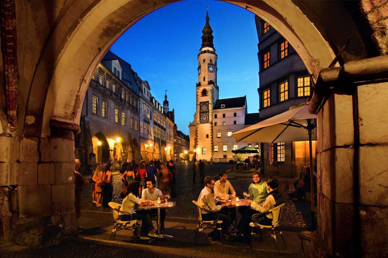 The Town Hall in the under market of Gorlitz at night. Photo by Sabine Wenzel.