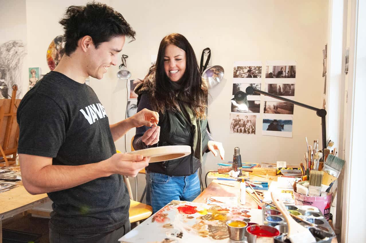 Clarissa working with a student in her studio. Photo by Clarissa Shanahan.