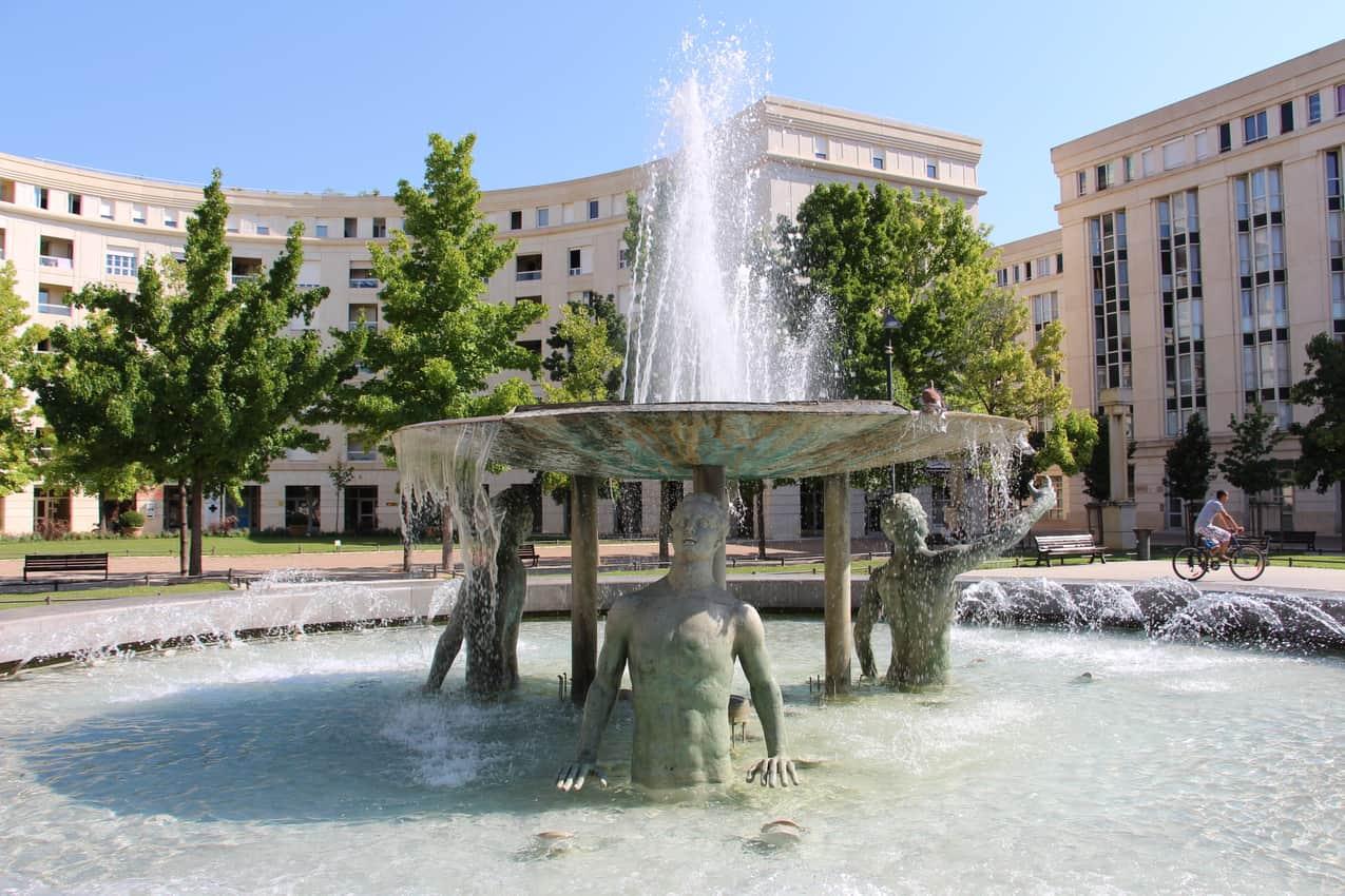 Fountain of Antigone in Montpellier, France. Montpellier tourism photo.