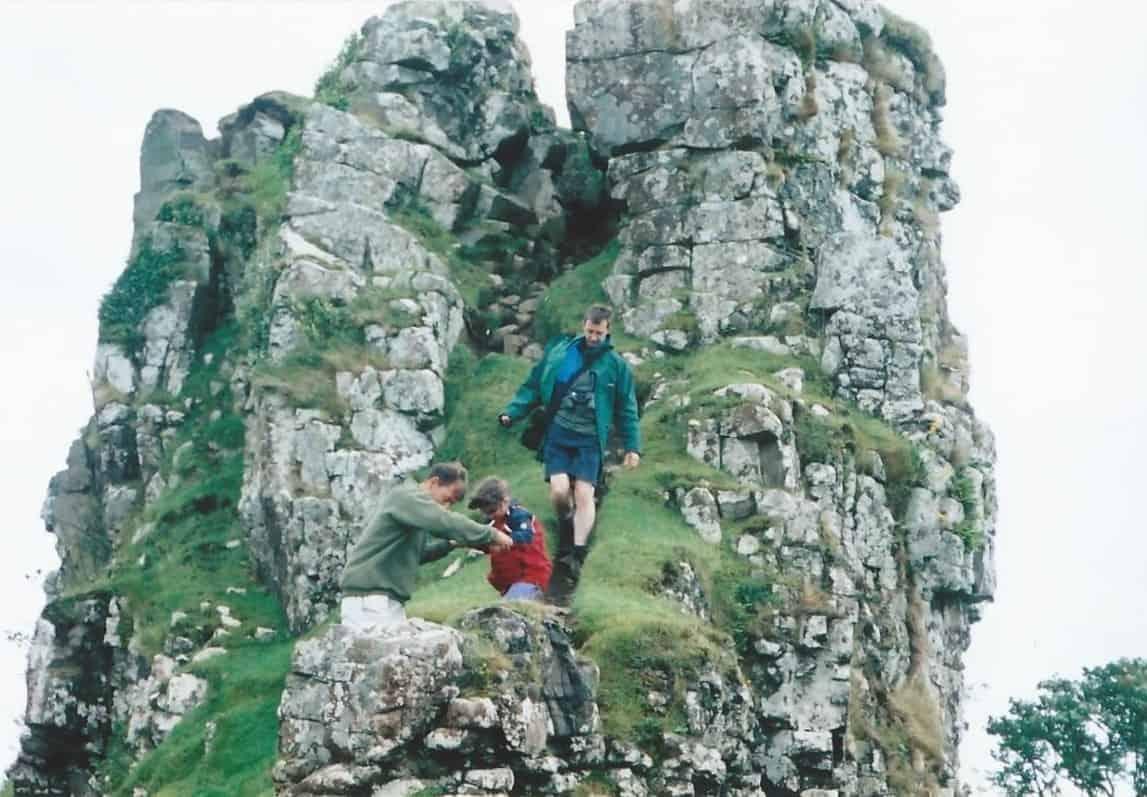 Clamboring on the rocks on the Isle of Skye, Scotland.