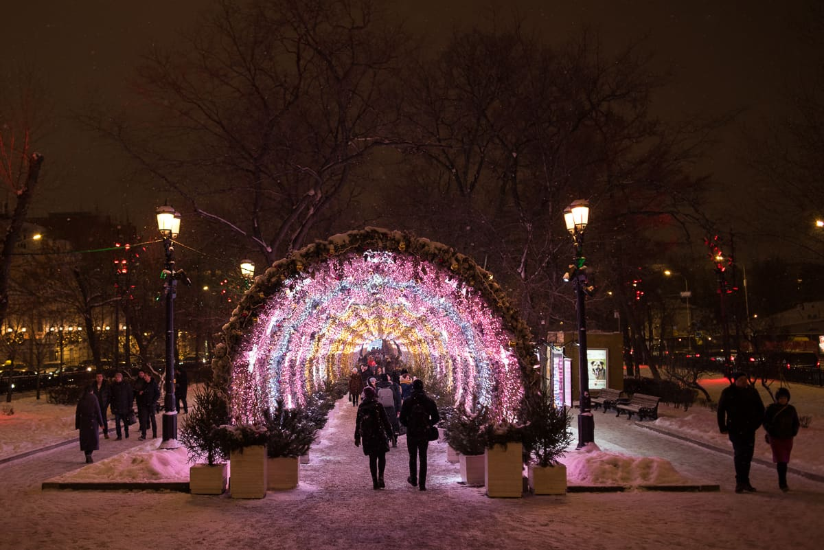 Moscow does Christmas like no other city. Here, a walk through a lit up tunnel in downtown.