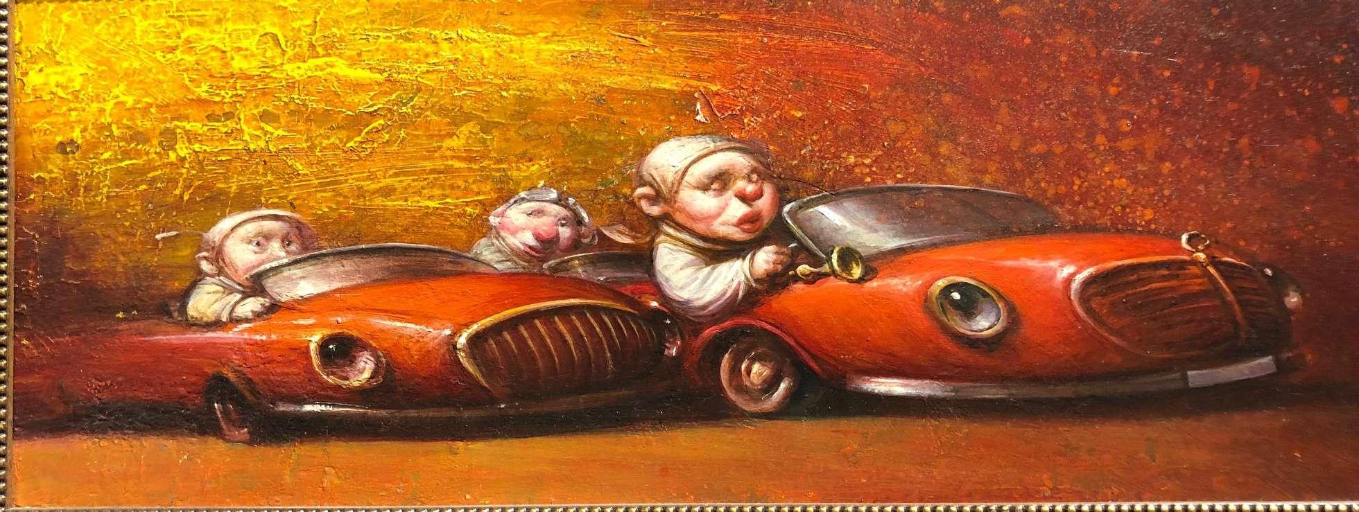 Dmitry Yakovin's gnomes cruising through a St Petersburg gallery