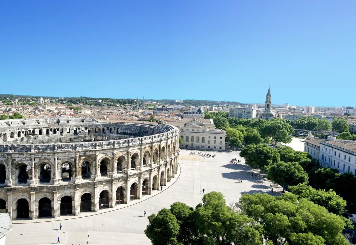 The Roman arena in Nimes, France. Nimes Tourism photo.