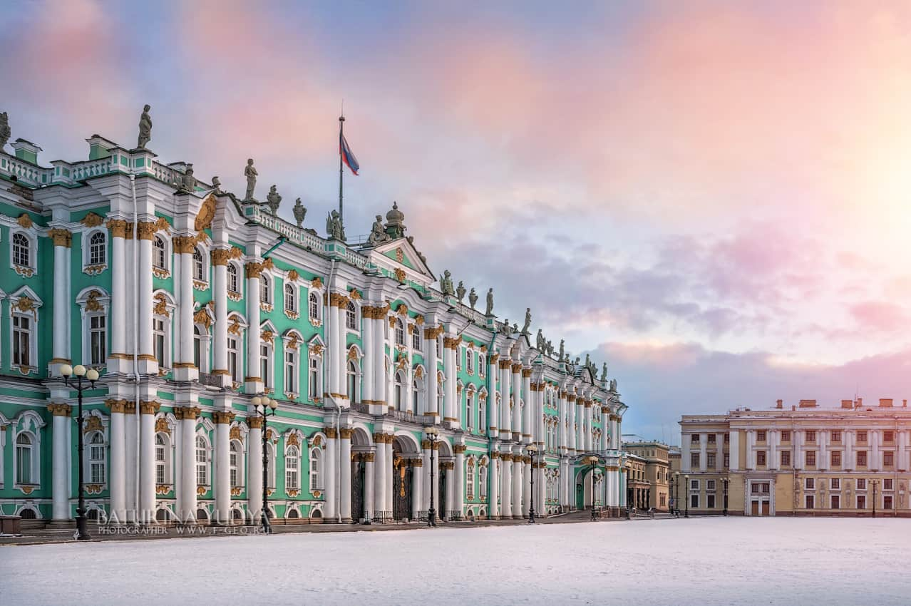 Winter Palace on Palace Square in St. Petersburg on a winter morning