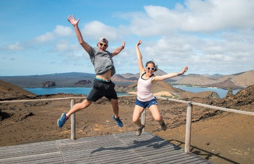Jessie and her fiance in the Galapagos Islands.
