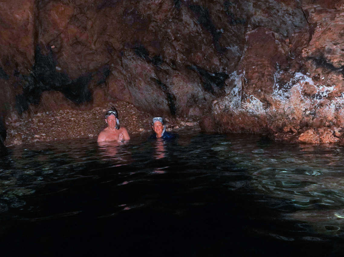 Snorkeling inside a cave at Norman Island