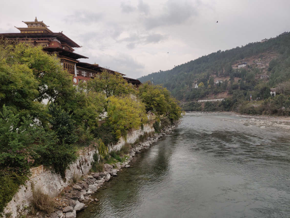 Punakha Dzong, the imposing monastery, standing at the confluence of Mo Chhu and Pho Chhu rivers in Bhutan.