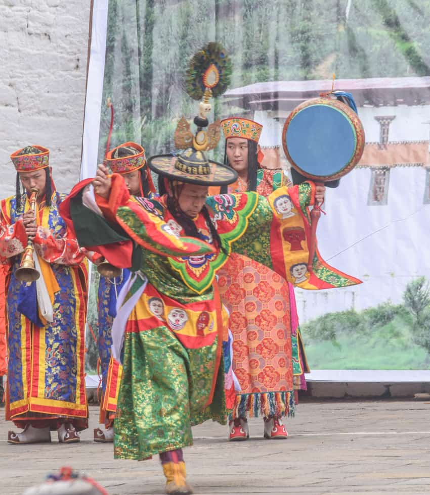 Costumes are a big part of the the annual Punakha Tshechu in Bhutan.