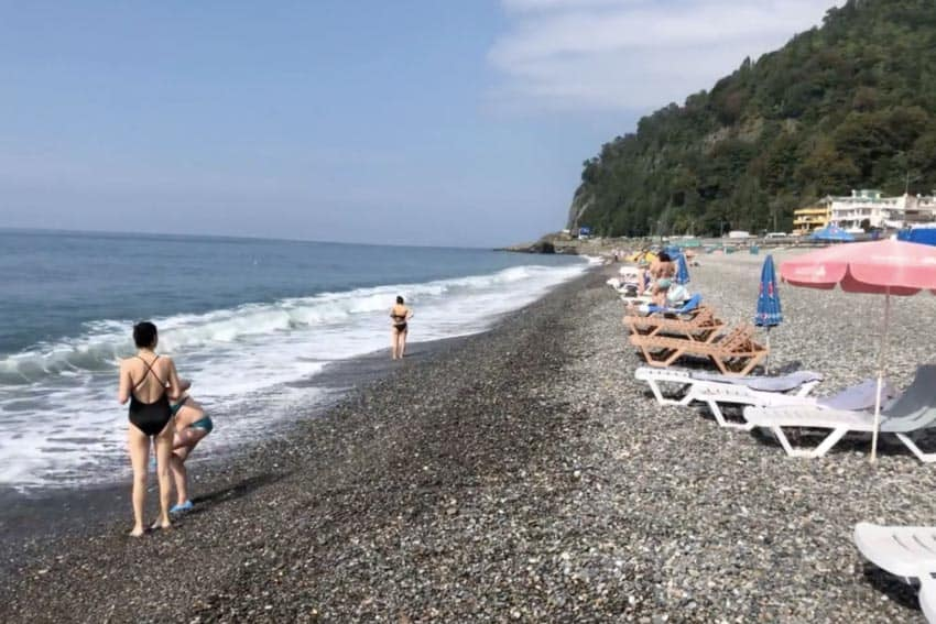 The rocky beach in Sarpi, Republic of Georgia, on the Black Sea.