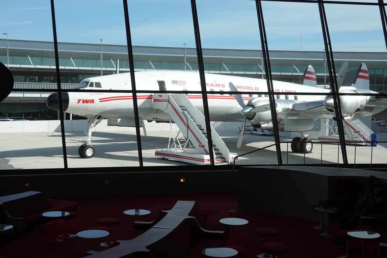 """1957 """"Connie"""" at the TWA Hotel that opened last year at JFK airport in New York City. Tab Hauser photos."""