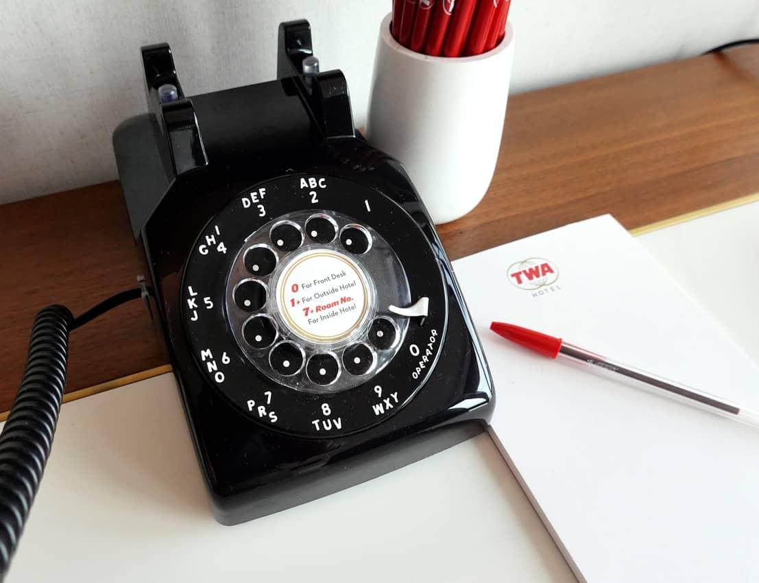 Rooms had rotary phones and TAB soda in the minibar at the TWA Hotel at JFK.