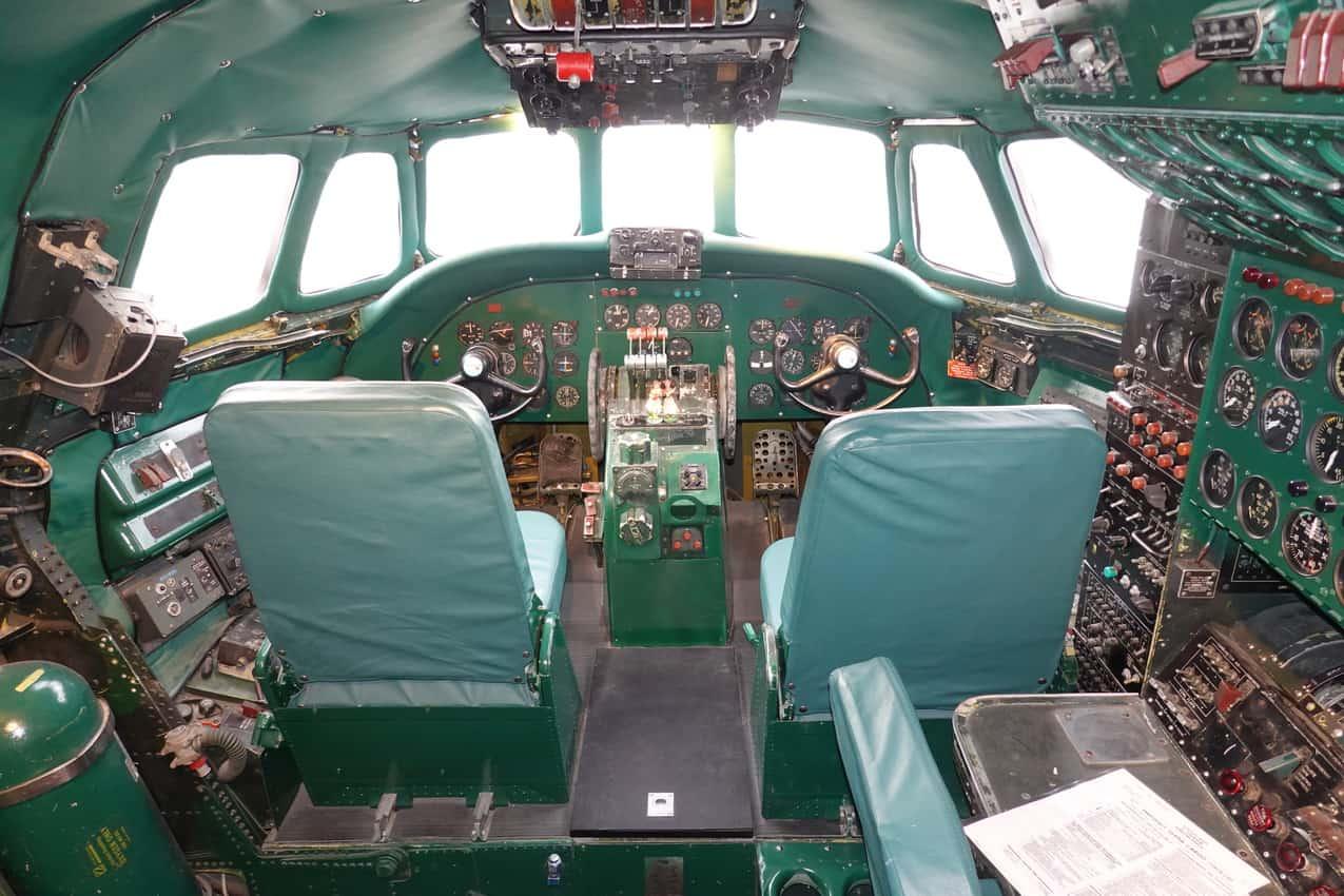 Restored cockpit of the 1957 Constellation airplane