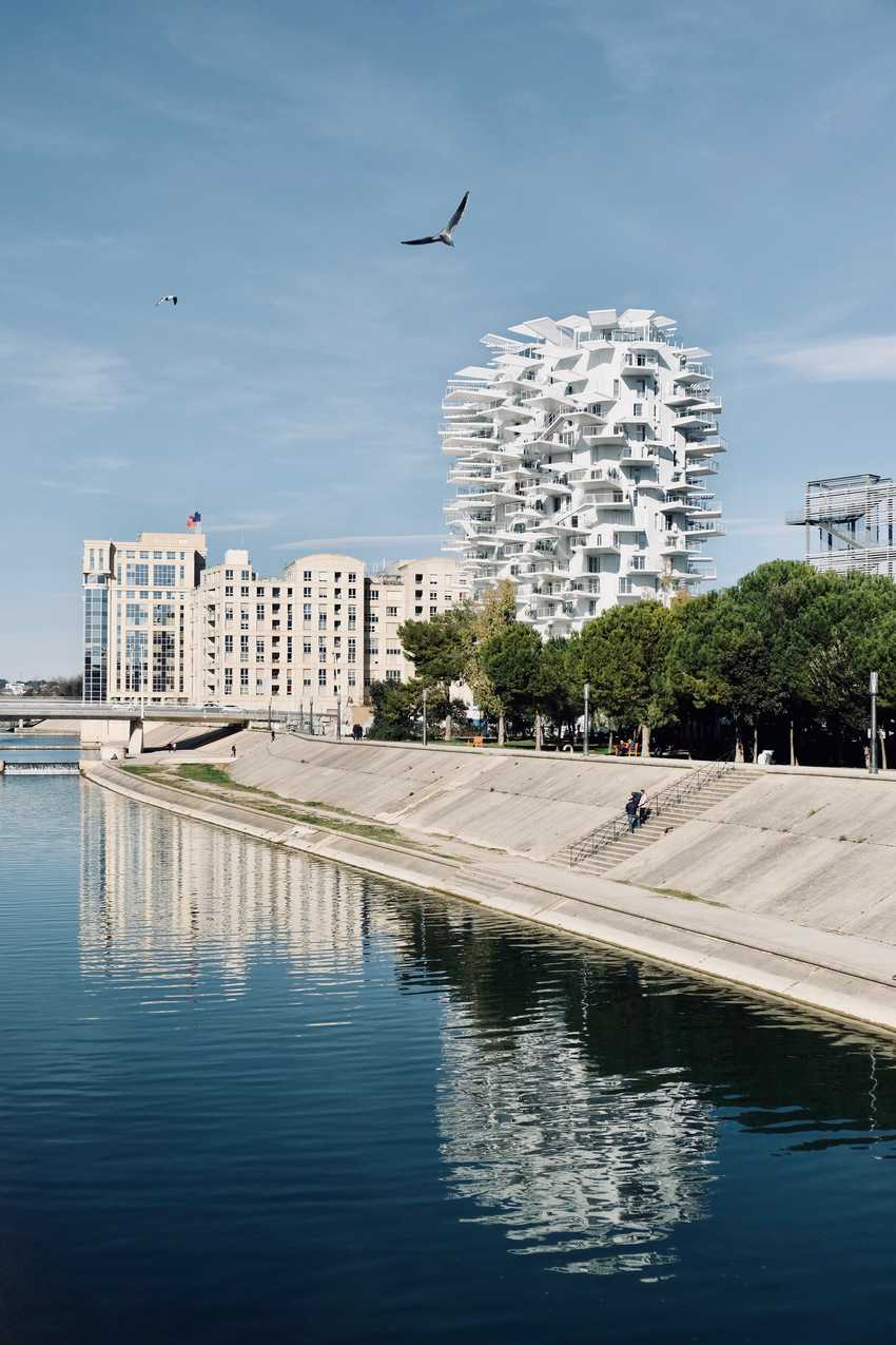 The dramatic L'arbre Blanc residential tower in Montpellier, France. Marie Frayssinet photo.