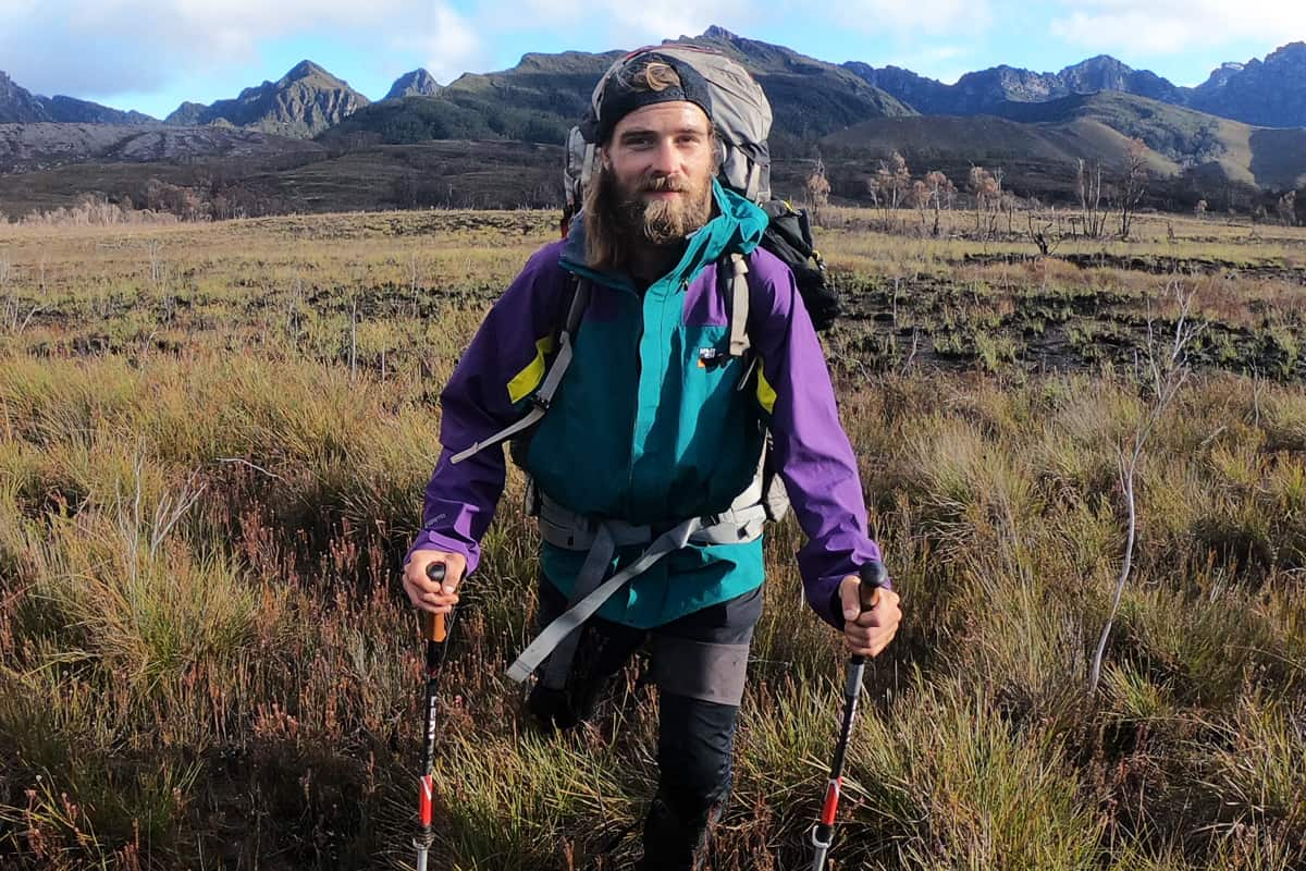 Teddy Metzler wearing the Torridon M Jacket through the South West of Tasmania. He is a brand ambassador for Sprayway clothing, from England.
