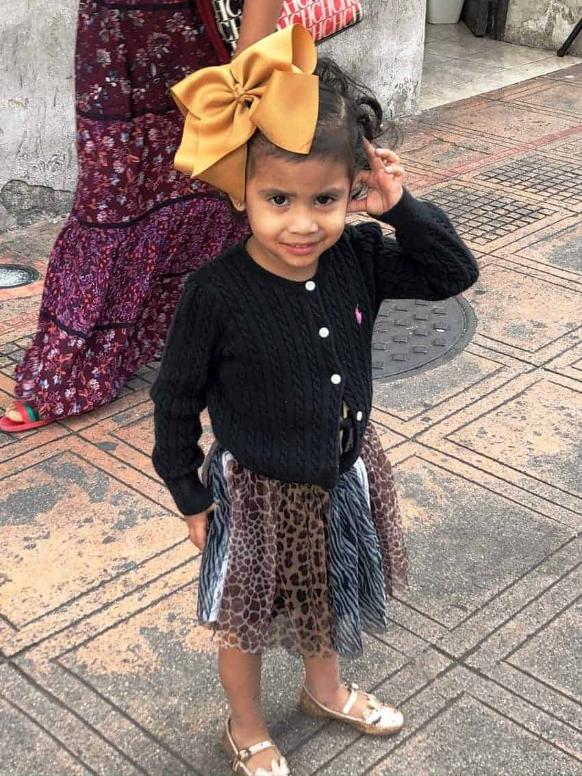 Dressed up local girl in Merida, Mexico.
