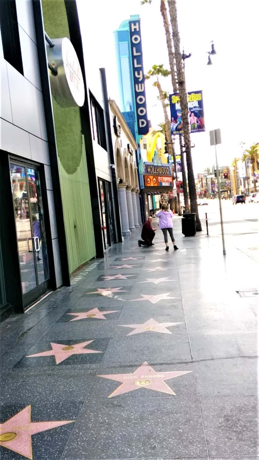 Only a couple other people were out on the Walk of Fame in Hollywood