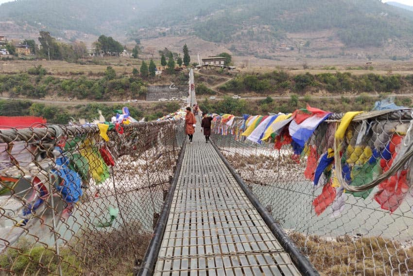 Panaka Hanging Bridge in Bhutan.