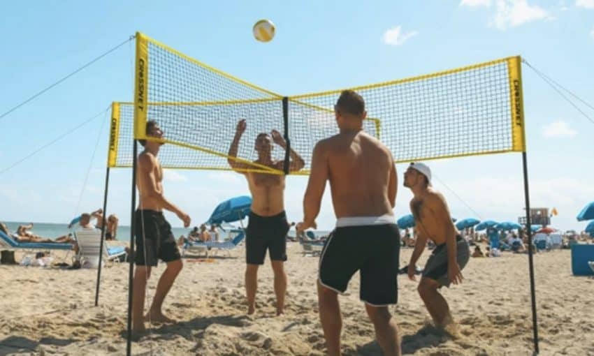 Crossnet combines volleyball with four square, an exciting backyard game.
