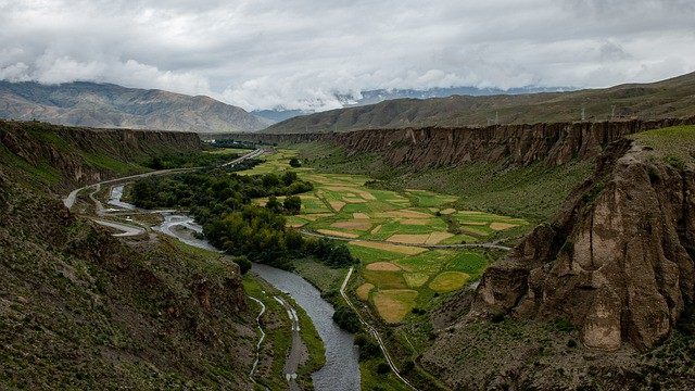 Tibet landscape. The country is a jaw-dropping place to explore by motorcycle!