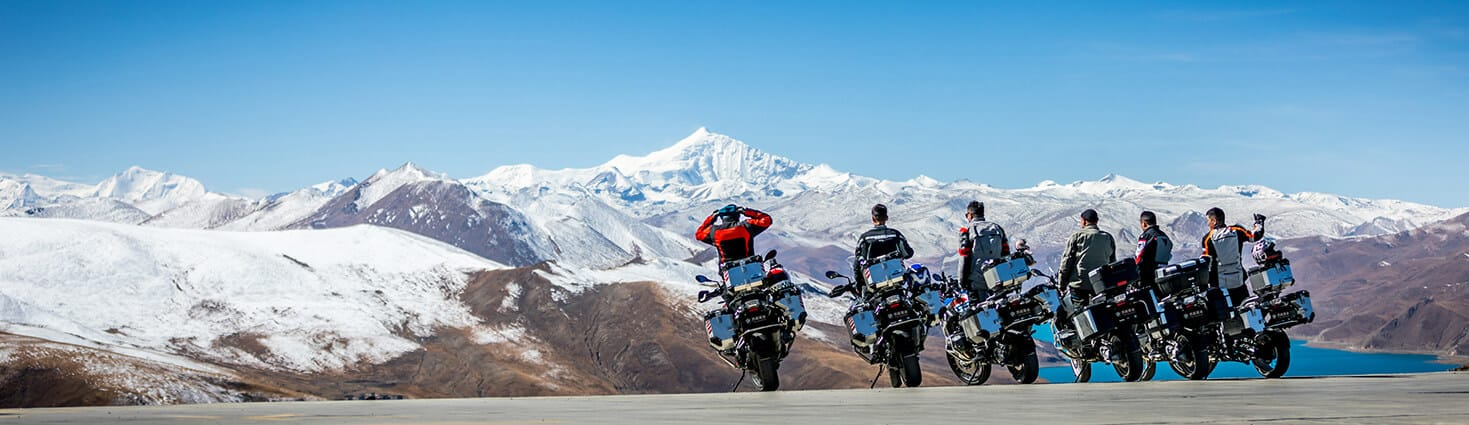Motorcycle riders approaching Mount Everest. Tibet Easy Rider photo.