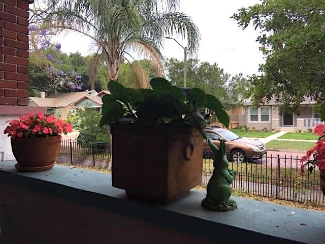 Ginger Warder's front porch in Florida where she likes to work.