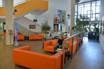 A hostel lobby in Munich Germany. Sonja Stark photo.