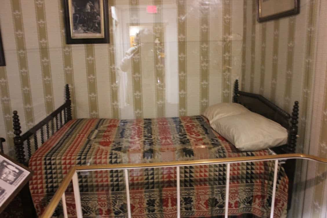 A replica of the bed where Lincoln died at the Peterson House.
