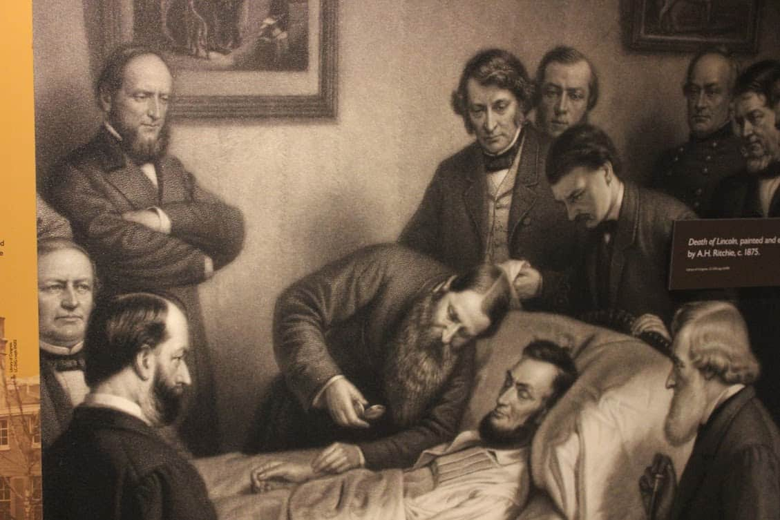 President Lincoln on his death bed at Petersen House.