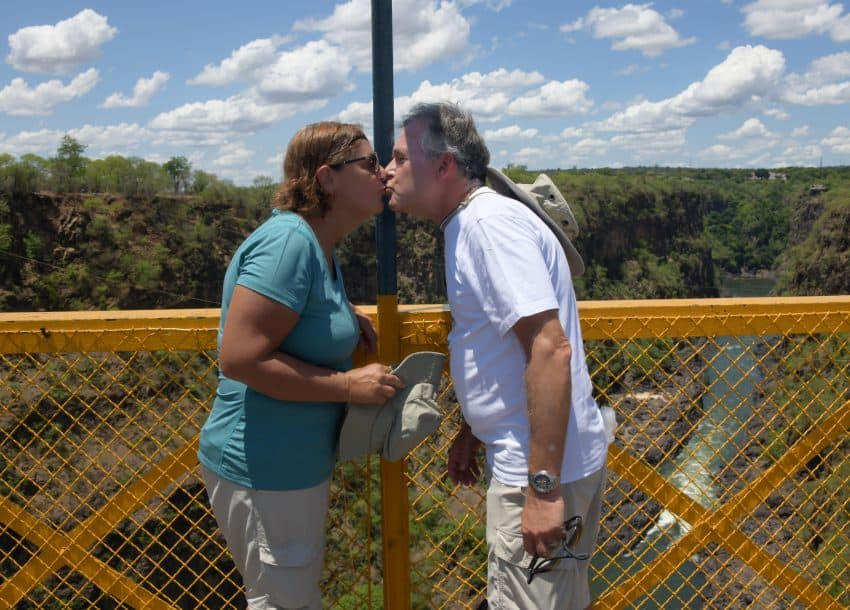 Two Country Kiss at Victoria Falls