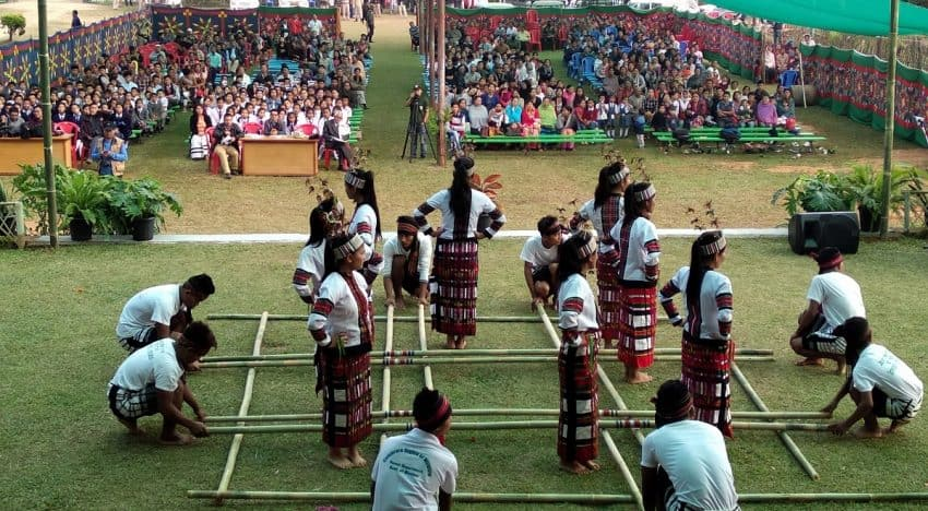 Celebration of the Sangai festival in the remote areas of Manipur. The ten-day festival takes place throughout the state.