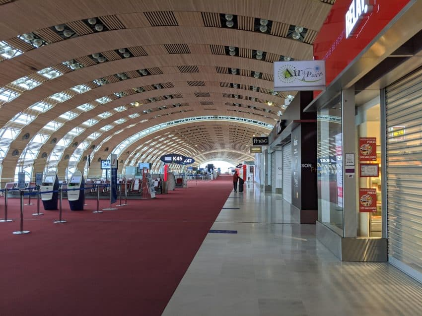 The cavernous terminal at CDG, almost empty, in Paris.