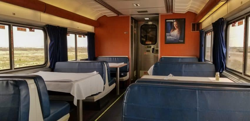 Sam empty dining car on the Texas Eagle.